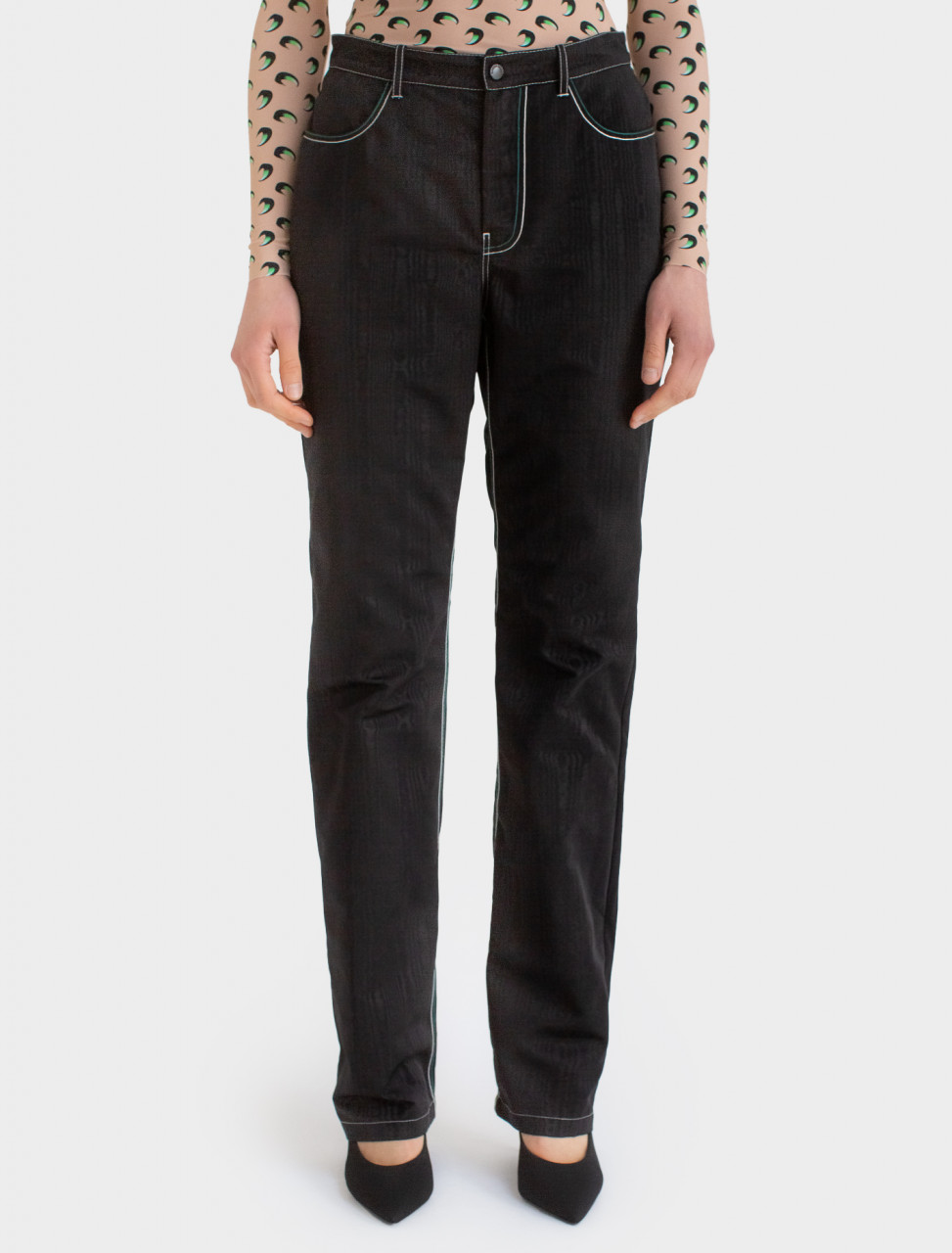 Straight Pants With Back Zipper Detail
