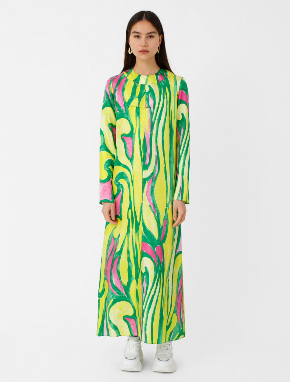 Abstract Print Long Sleeve Silk Dress