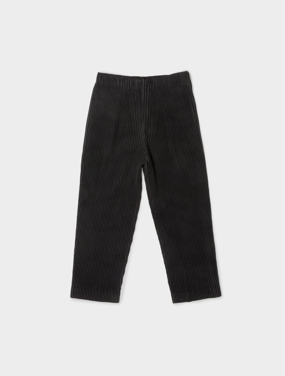 Front view of HOMME PLISSÉ Issey Miyake Cropped Pleated Trouser in Black