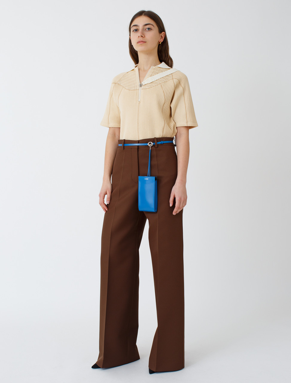 Wide Leg Trouser in Dark Brown
