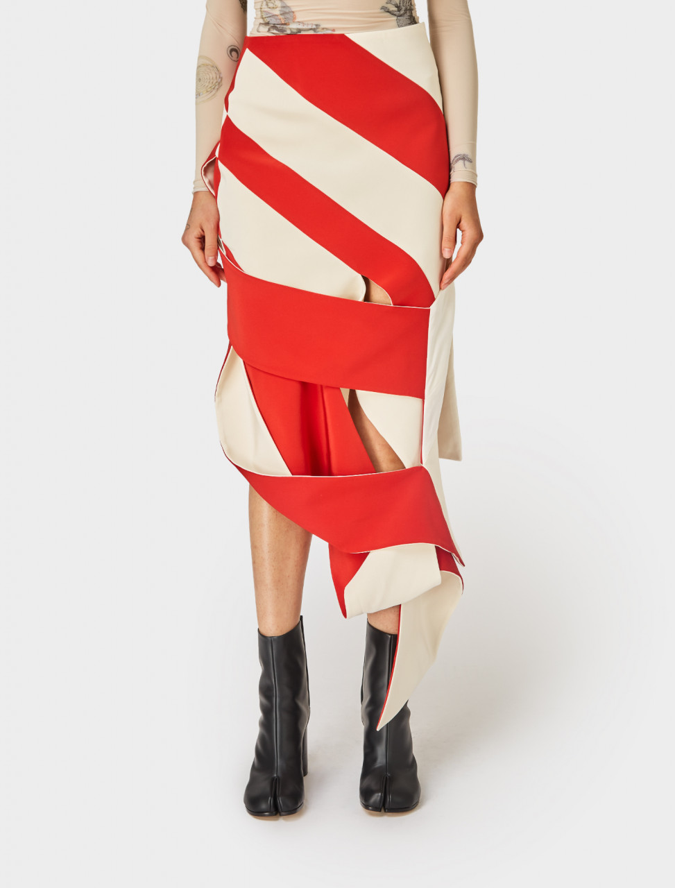 Super YAYA Belt Skirt in Red and Off White