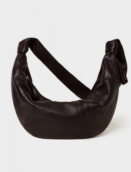 X-CAO-BG252-LL095-490 LEMAIRE LARGE CROISSANT BAG DARK CHOCOLATE
