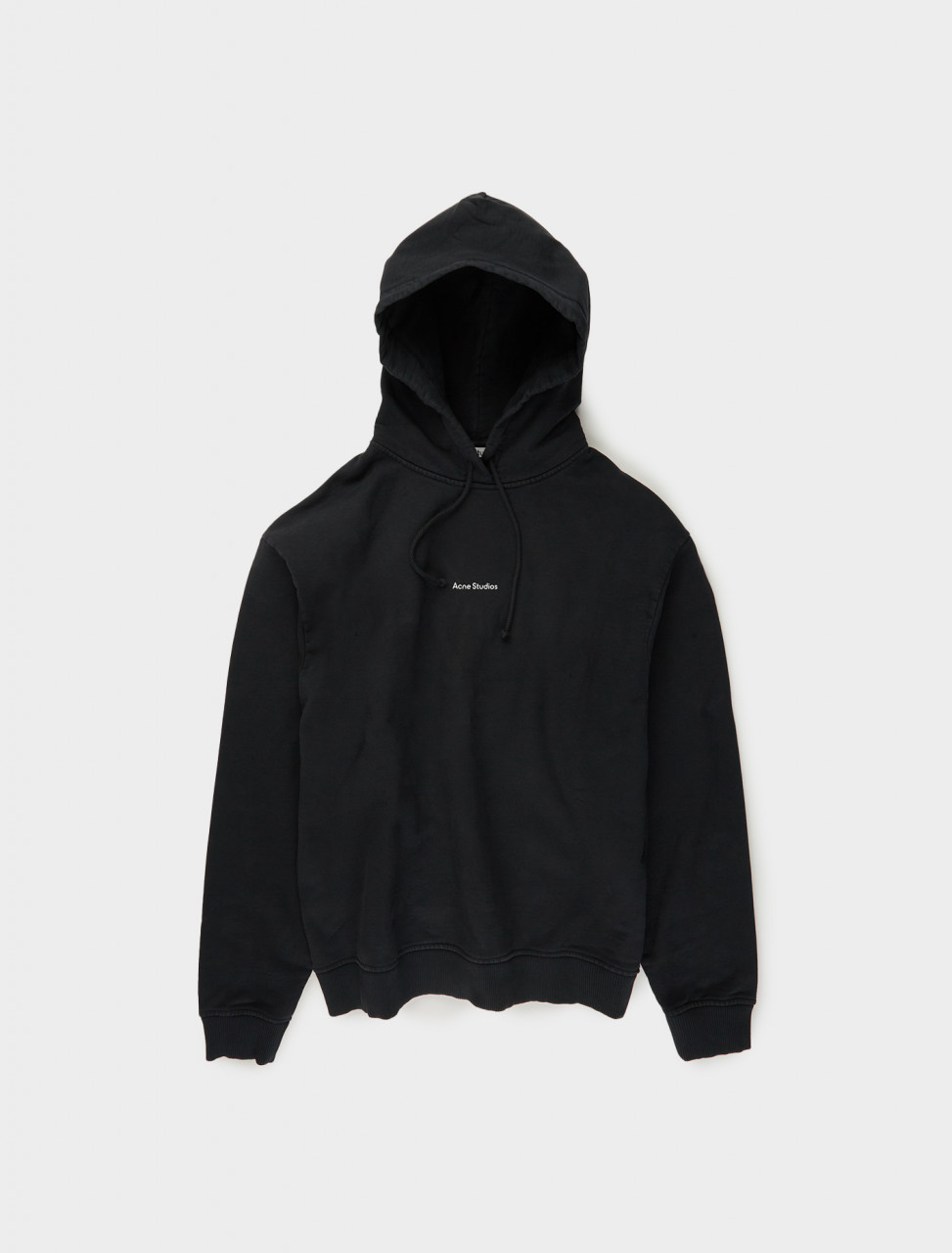 110-AI0070-900 ACNE STUDIOS LOGO PRINTED HOODED SWEATSHIRT IN BLACK