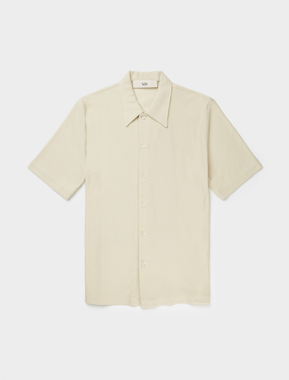 Front view of Séfr Suneham Shirt in Off White Stripe