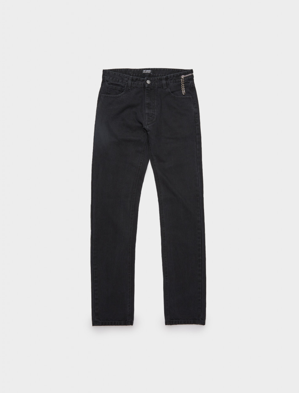 162-202-310-10134-00099 RAF SIMONS SLIM FIT DENIM W BIG ZIP BLACK