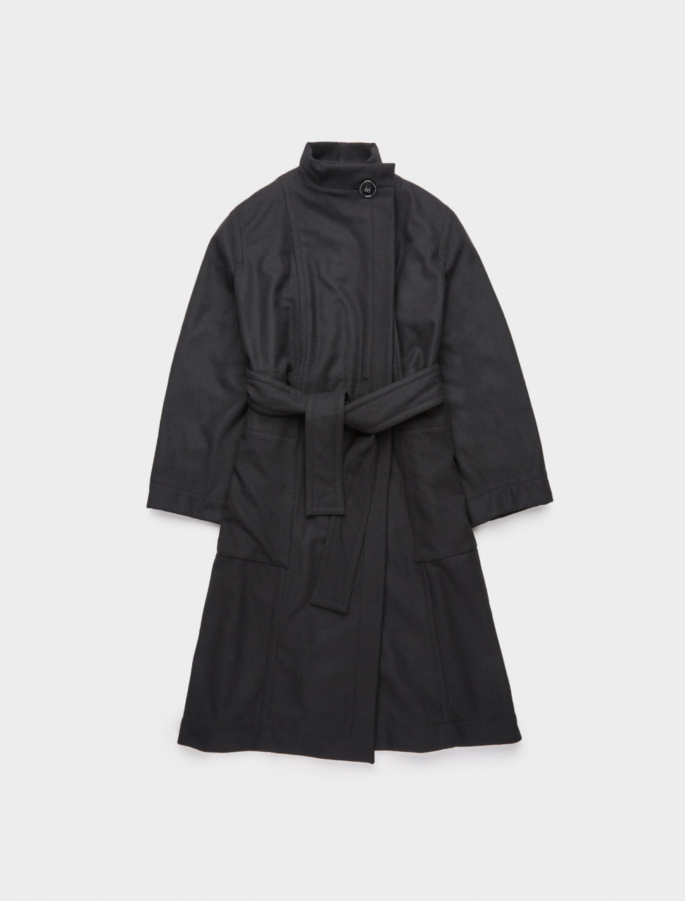 218-W-203-CO250-LF393-999 LEMAIRE WRAP OVER COAT BLACK