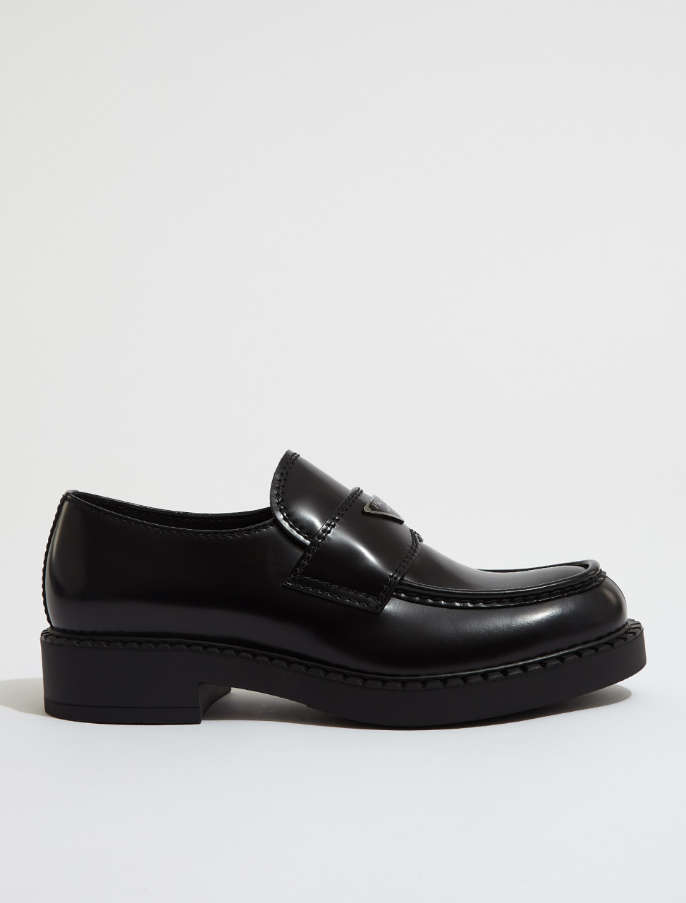 2DE127_055_F0002 PRADA Brushed Leather Loafers in Black
