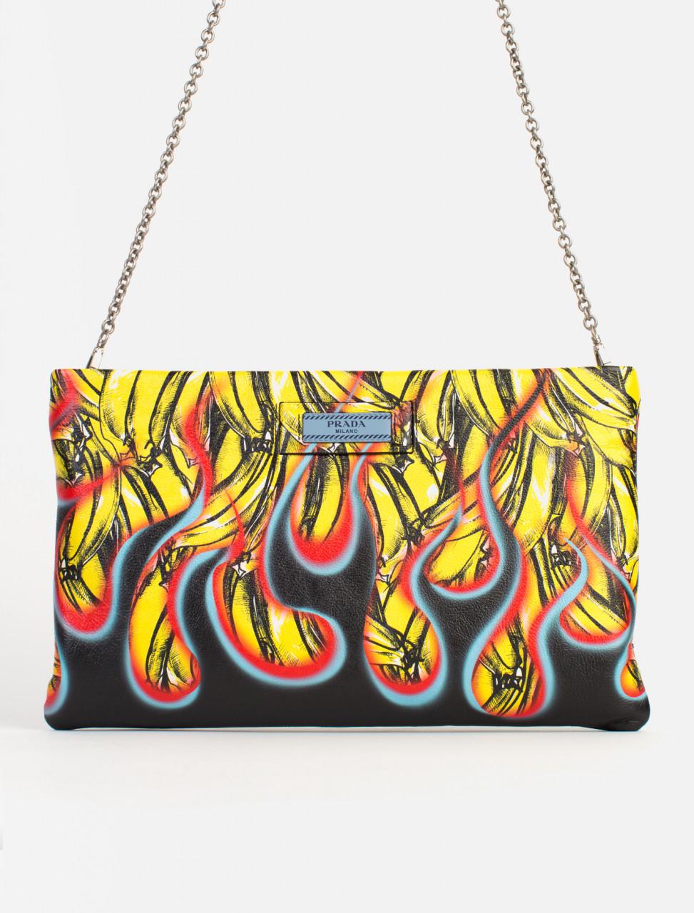 Banana Flame Print Clutch