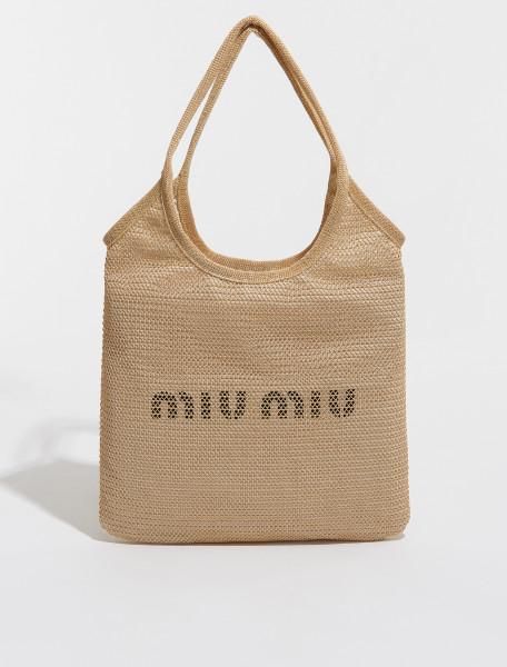 5BG231_2DO5_F0018 MIU MIU RAFFIA AND LINEN TOTE BAG IN NATURAL