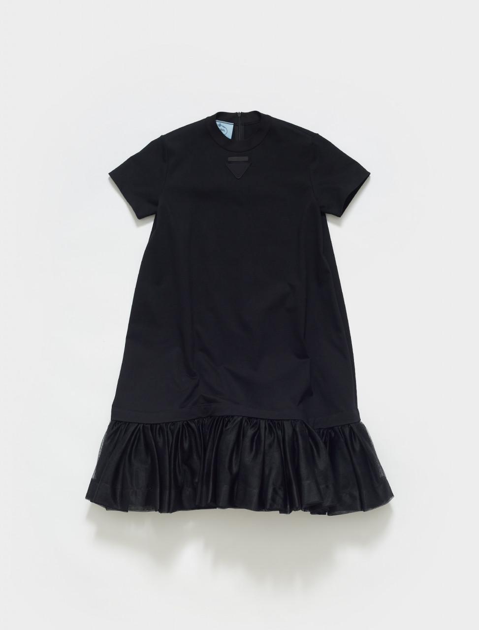 P3E14_1YYY_F0806 PRADA SHORT SLEEVED JERSEY DRESS WITH RUFFLE DETAIL IN BLACK