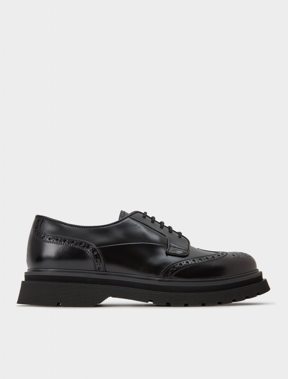 242-2EE347-B4L-F0002 PRADA Brushed Leather Brogue Shoe