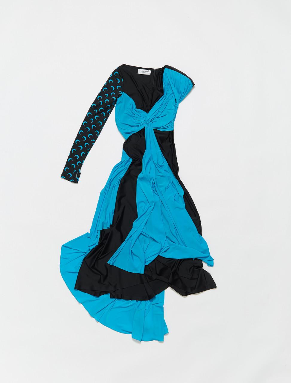 277-D009SS20WBLACK MARINE SERRE DRAPE JERSEY DRESS BLACK BLUE