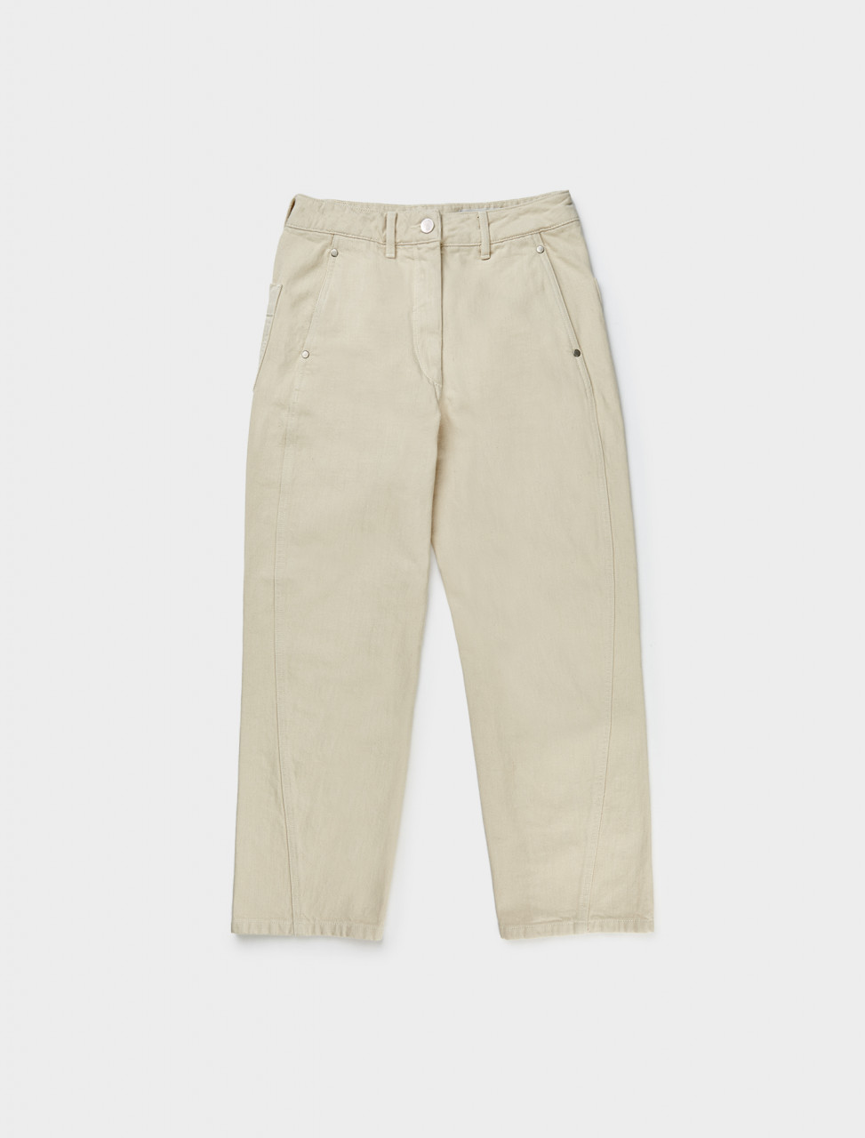 Front view of Lemaire Women's Twisted Trouser in Cream