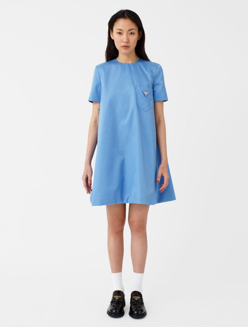 Nylon Gabardine Dress with Belt in Azure