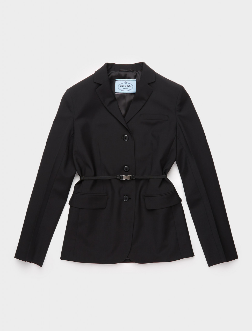 P575LH-F0002 PRADA LIGHTWEIGHT SINGLE BREASTED JACKET WITH BELT IN BLACK