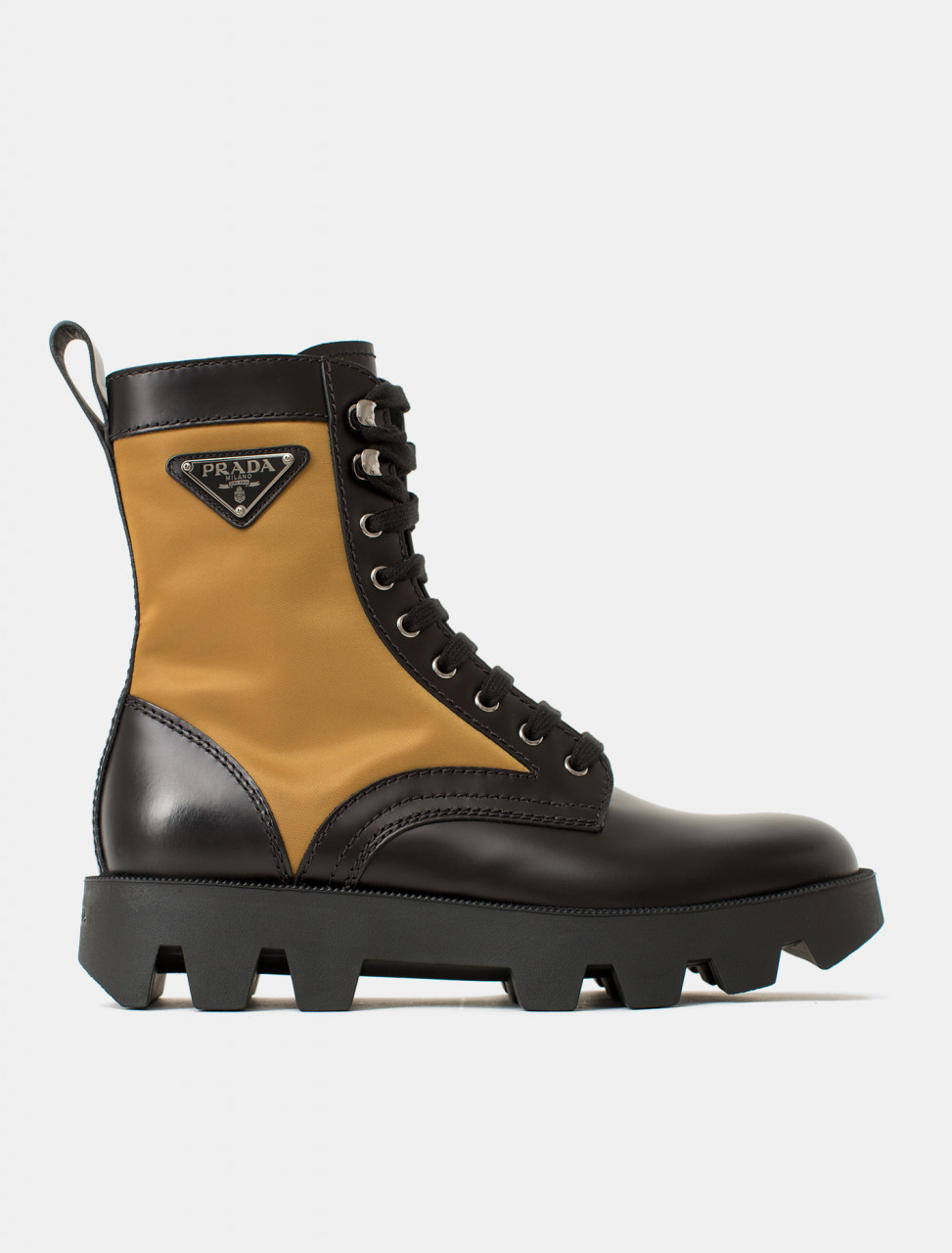 Prada Brushed Leather and Nylon Boot