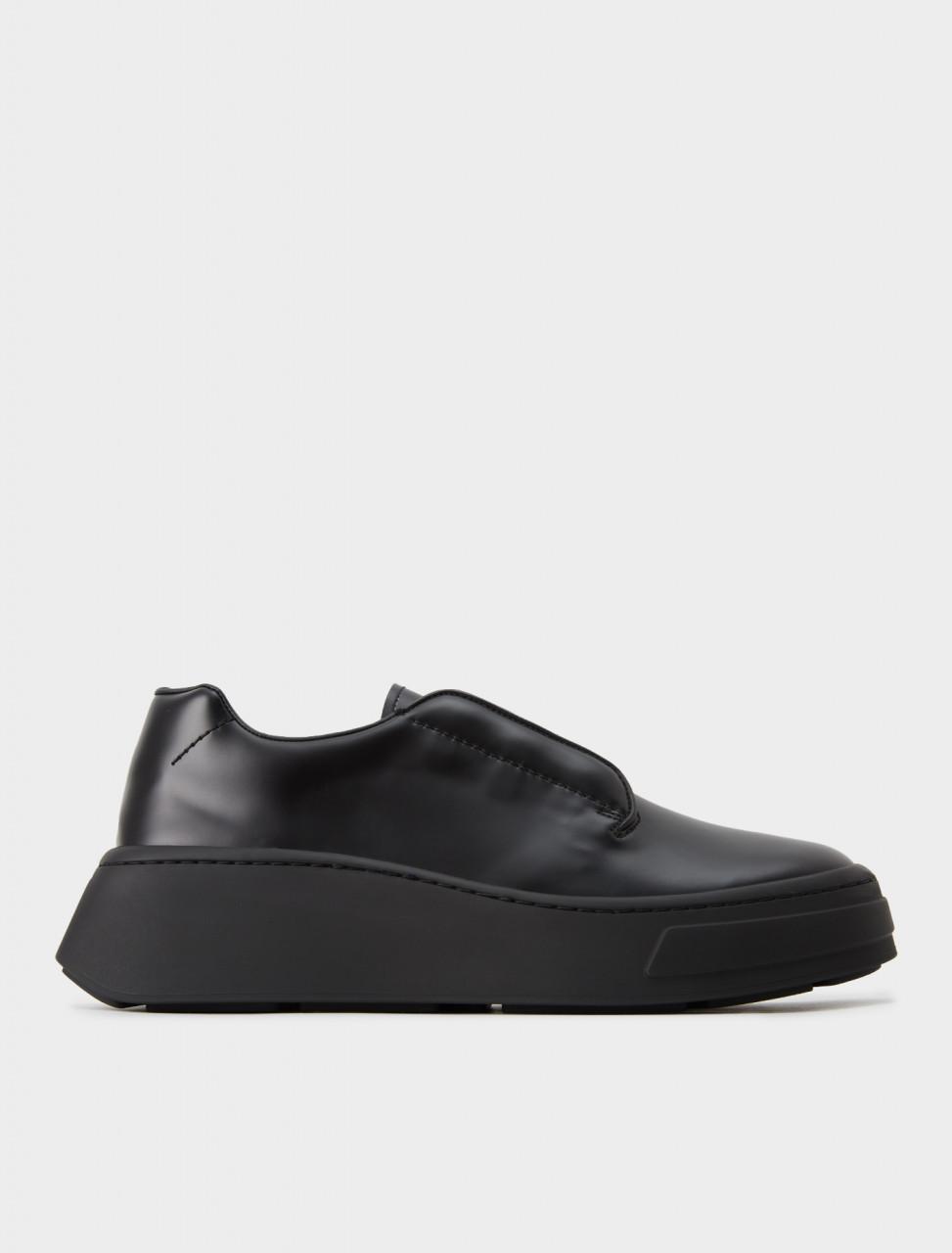 2EG312-B4L-F0002 Prada Brushed Leather Chunky Sole Shoe in Black