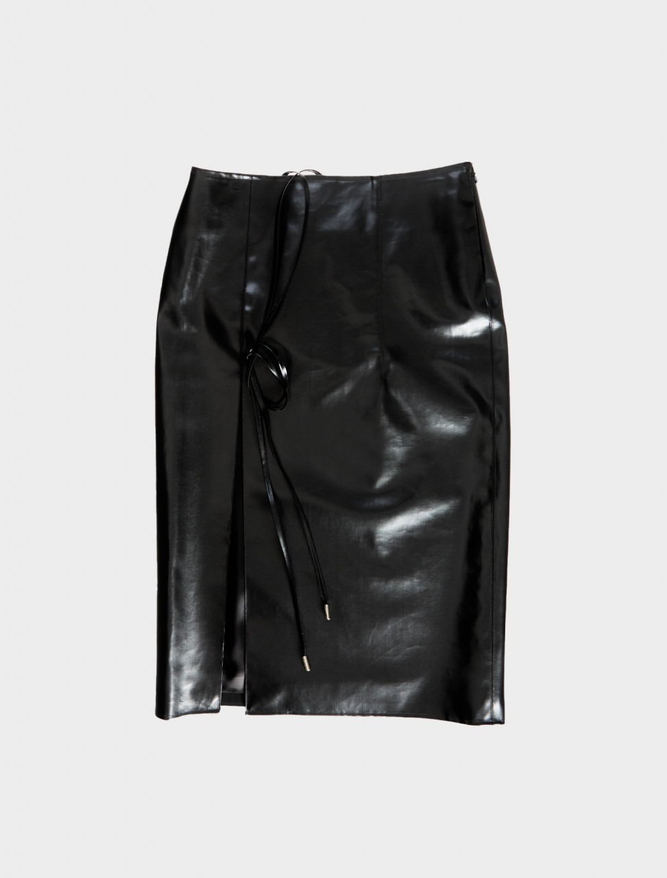 Supriya Lele Rubberised Utility Skirt in Black Front