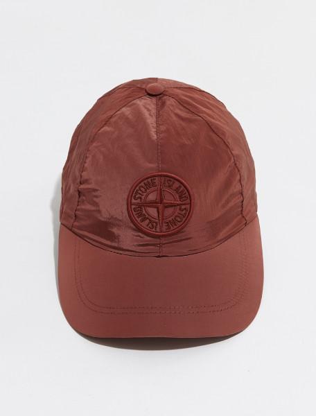 MO751599576_V0115 STONE ISLAND NYLON METAL SIX PANEL CAP IN BRICK RED