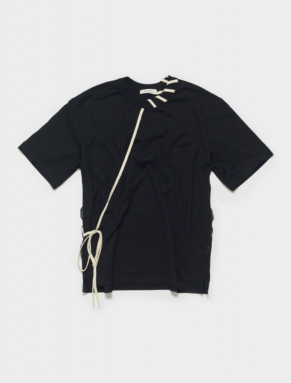 CGSS21CJETSS01 CRAIG GREEN LACED T SHIRT IN BLACK CREAM