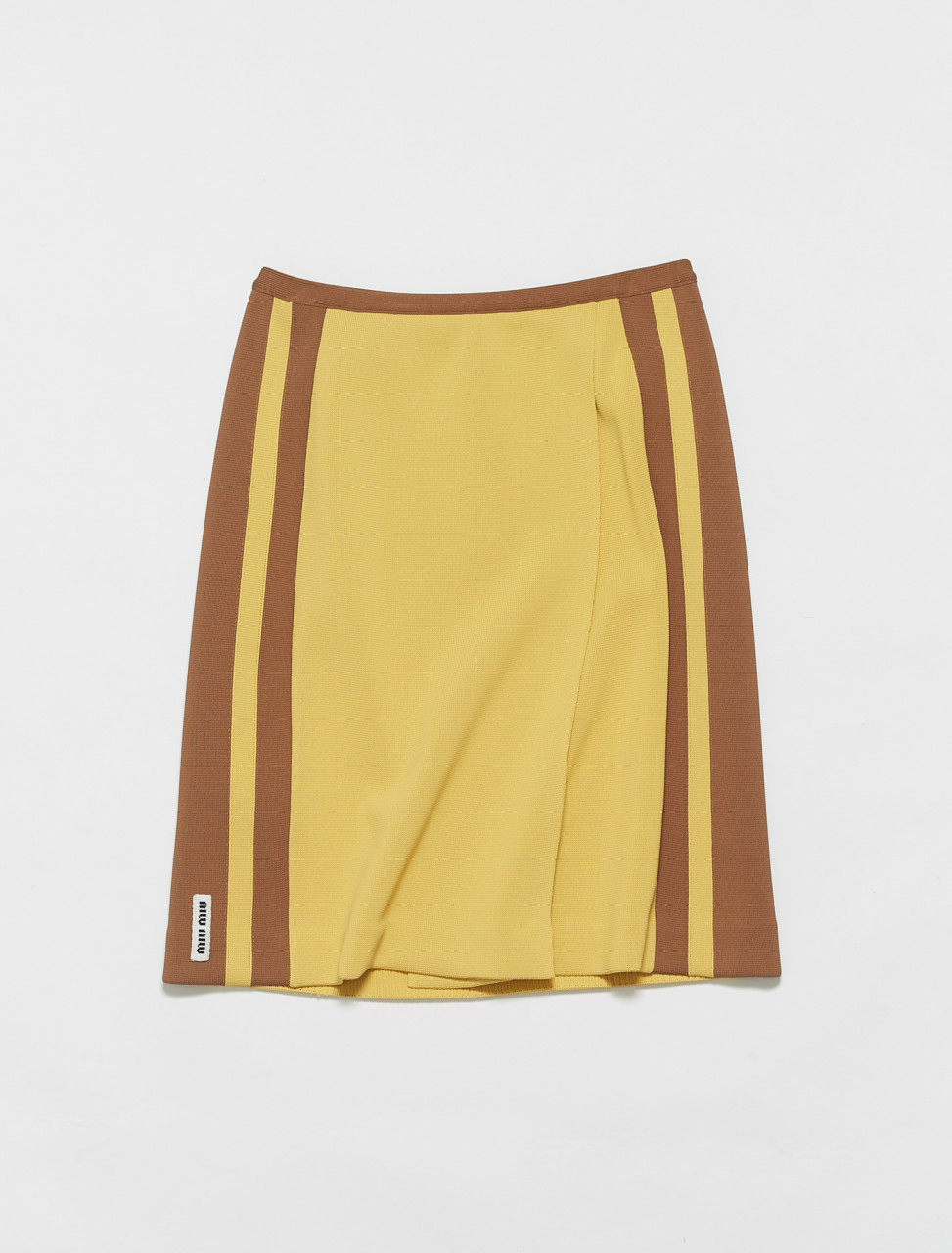 MMG351-F0W7B MIU MIU VISCOSE SKIRT IN HONEY & TOBACCO