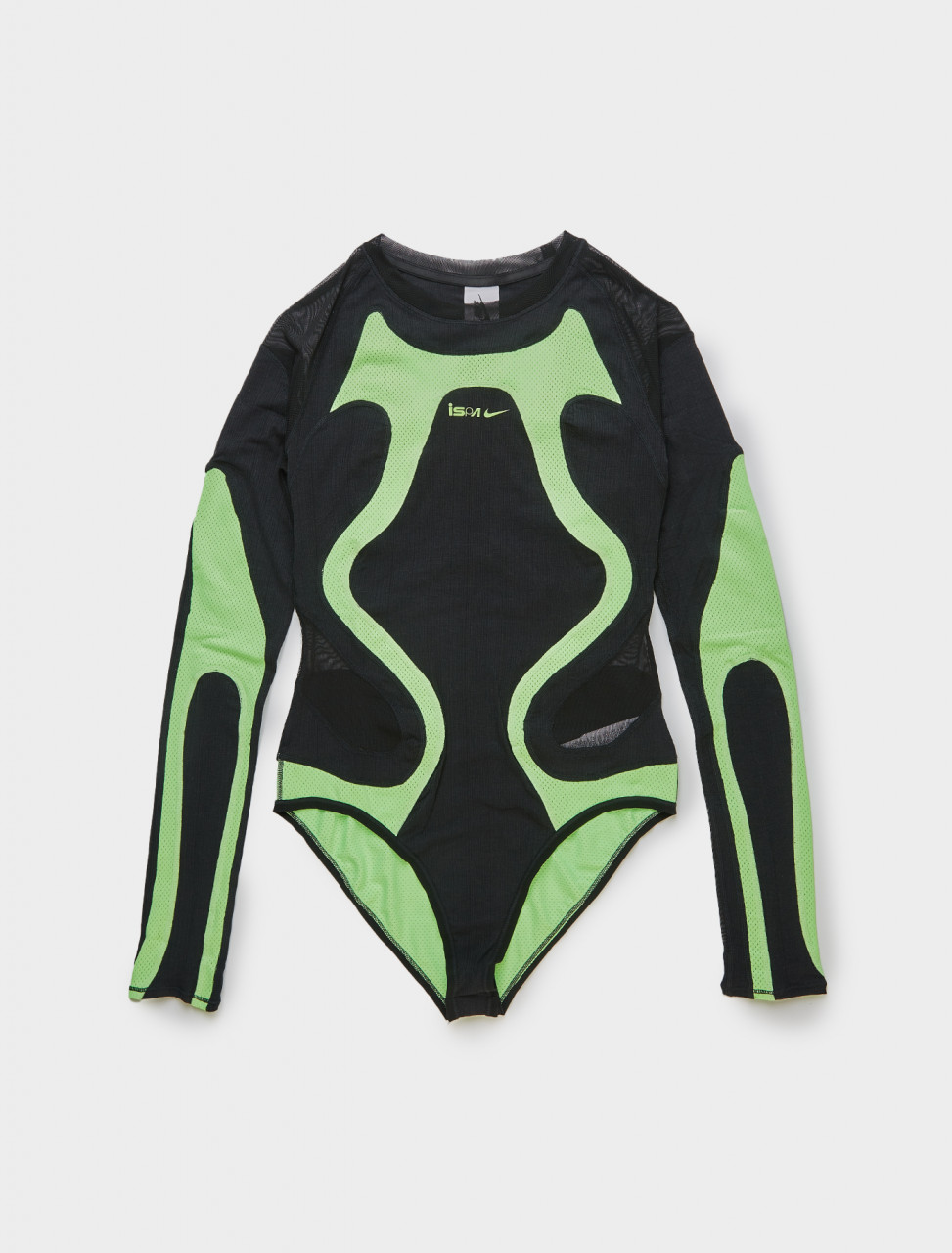 Nike ISPA Bodysuit with Panel Detail in Lime