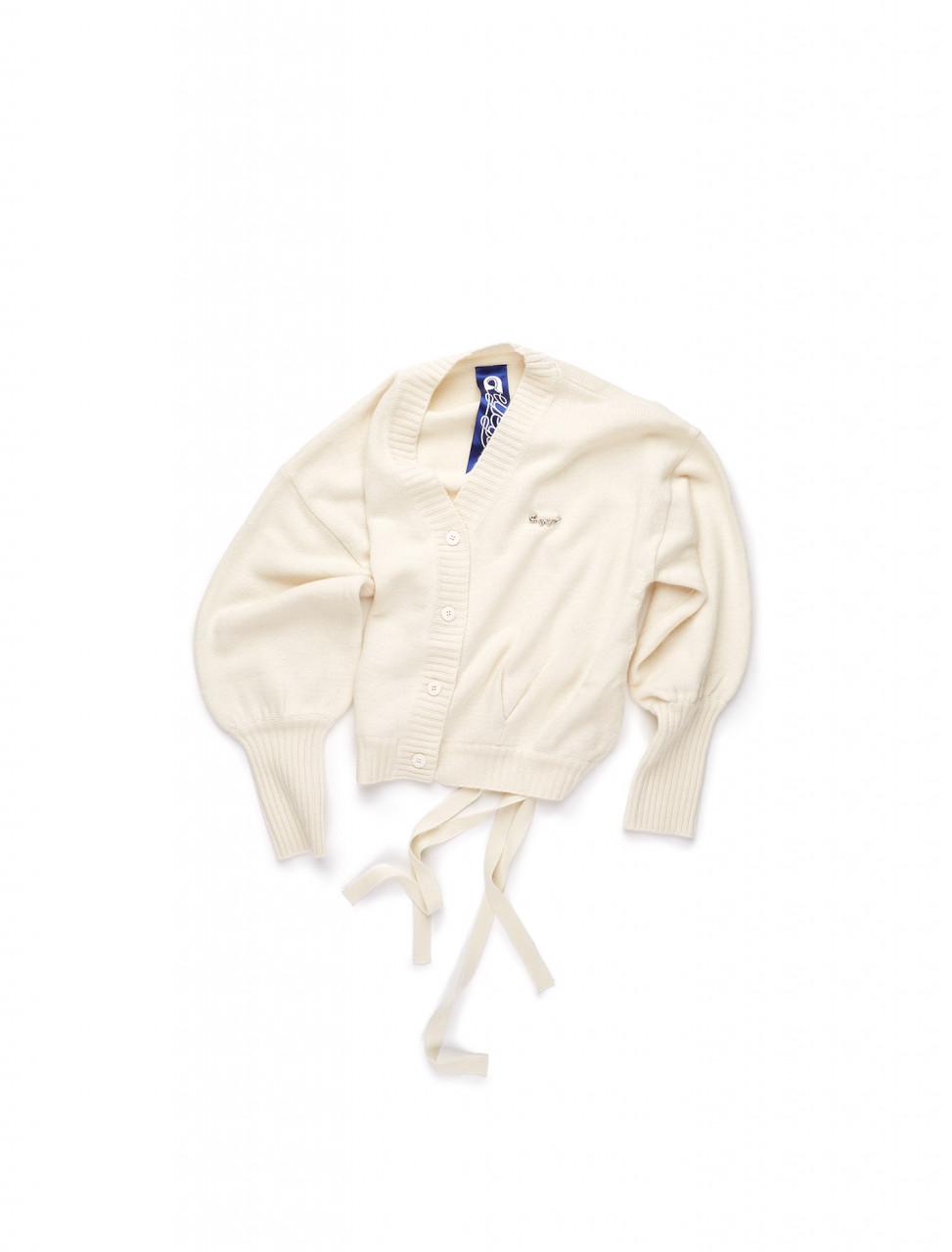 351-EETZ3CDR03W KYE CASHMERE BACK DETAIL CARDIGAN WHITE