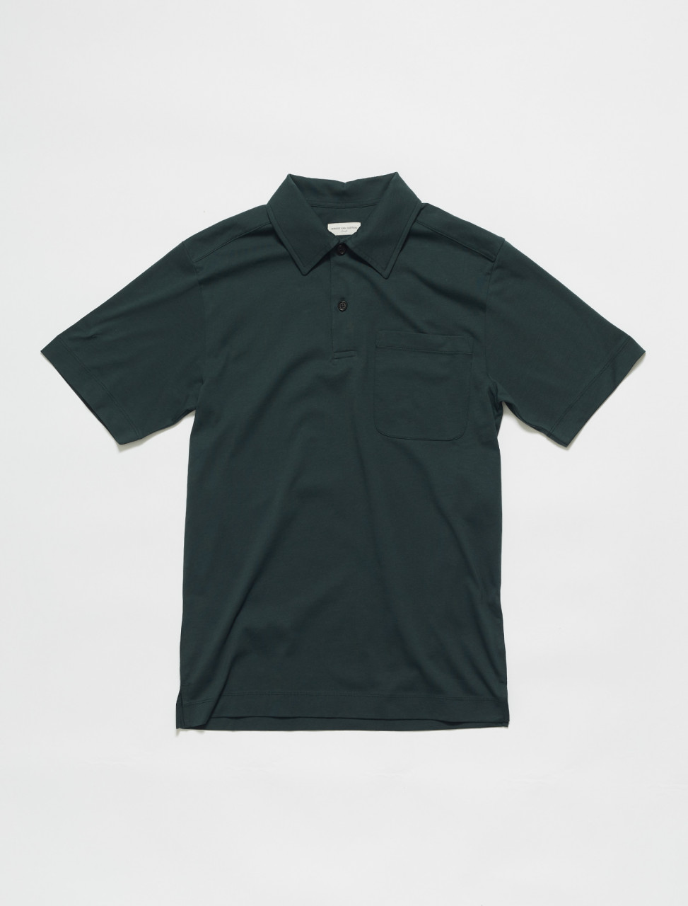 211-21160-2600-605 DRIES VAN NOTEN HELDER JERSEY POLO TOP IN DARK GREEN