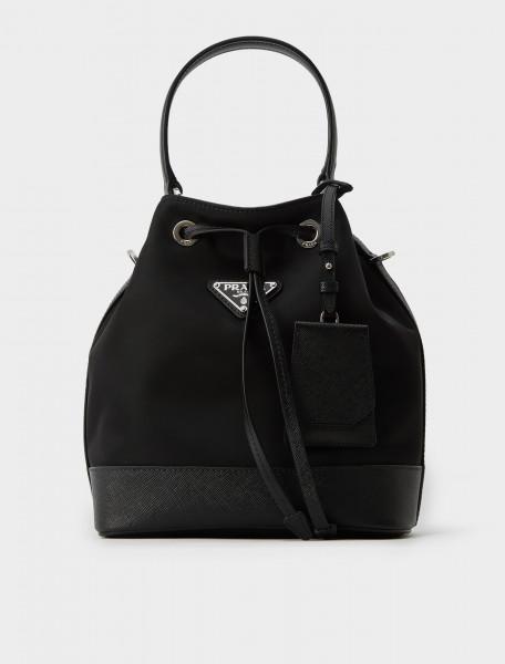 1BE055-064-F0002 Prada Nylon Bucket Bag with Leather Trim in Black