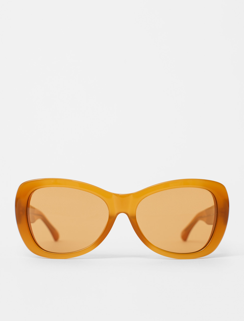 Rounded Cat-Eye Sunglasses in Amber