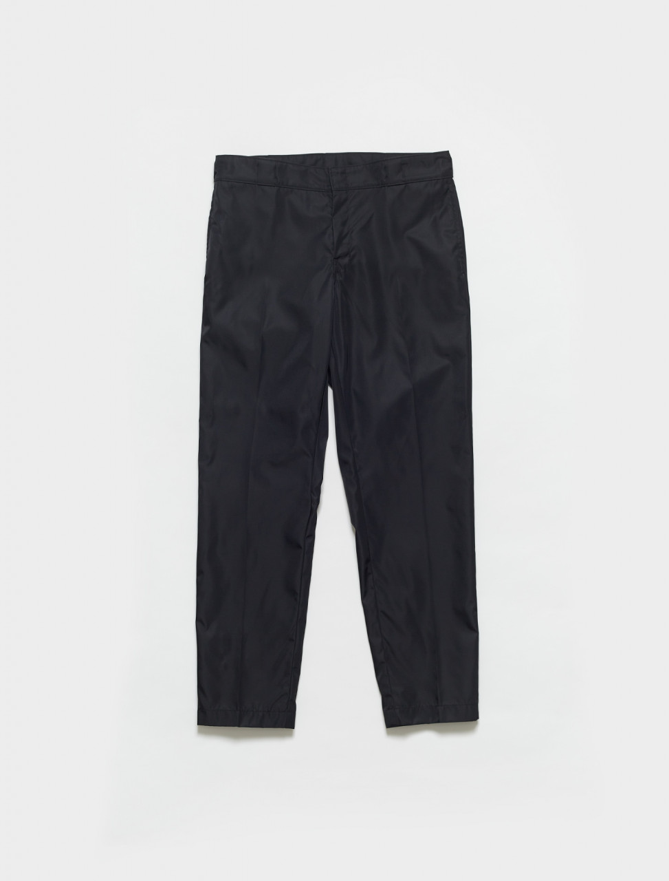SPG75-F0002 PRADA RE NYLON TROUSERS WITH ANKLE FASTENINGS IN BLACK