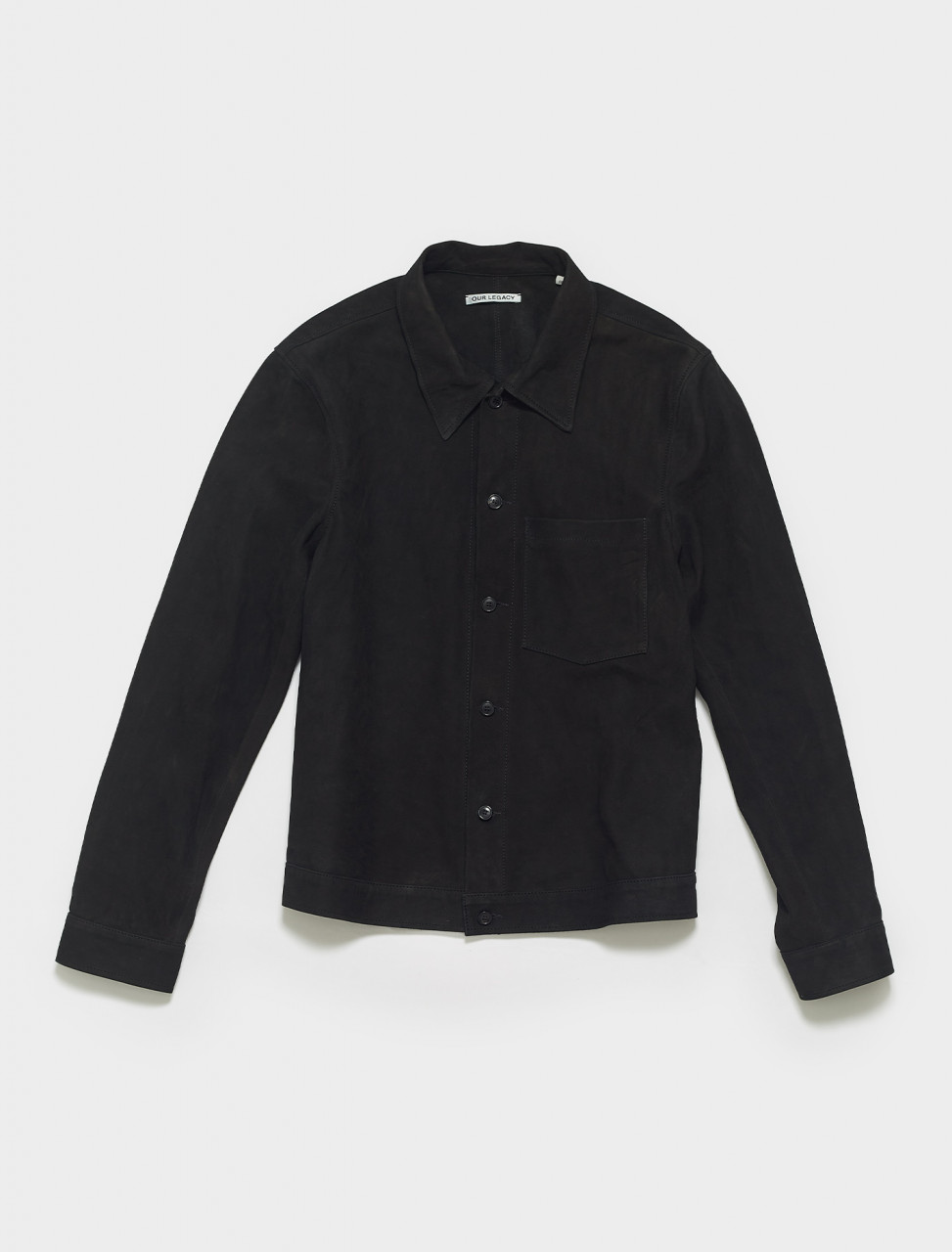 MR199NB OUR LEGACY REINCARNATION SHIRT IN BLACK SUEDE