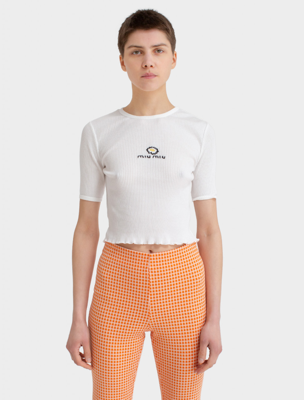 Cropped T-Shirt with Embroidered Daisy Motif