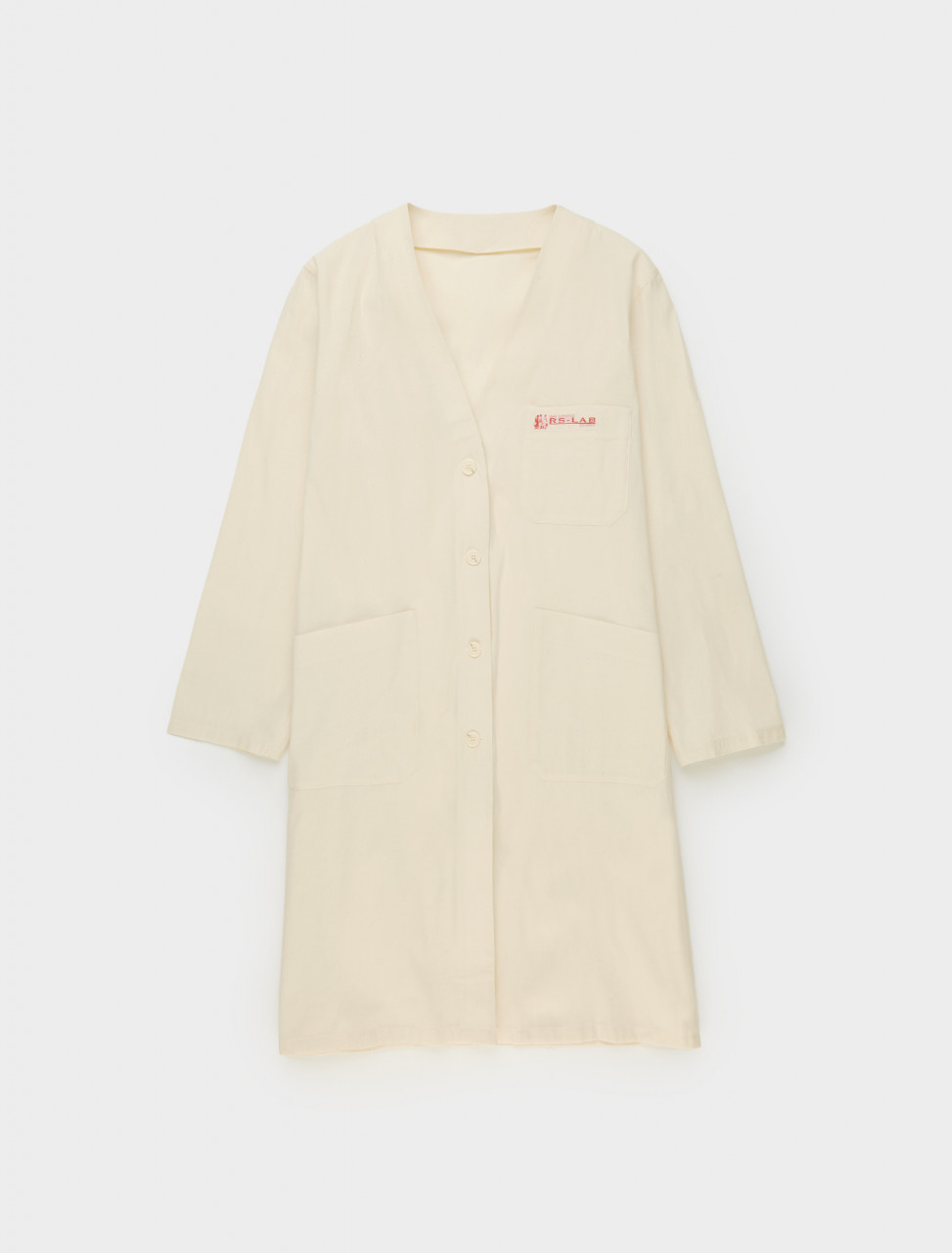 Raf Simons Classic Labo Coat with 2 Labels in Ecru Front
