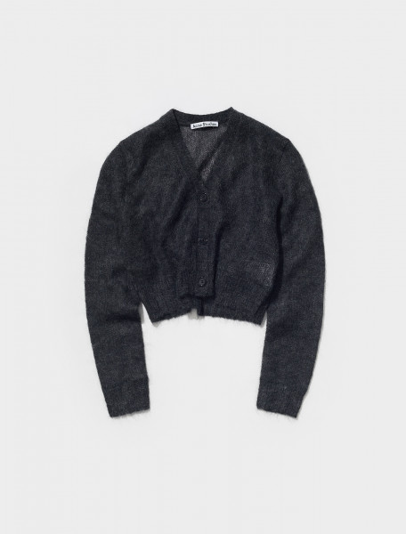A60296 AA2 FN WN KNIT000382 ACNE STUDIOS KODILIA DOUBLE MOHAIR CARDIGAN IN ANTHRACITE GREY