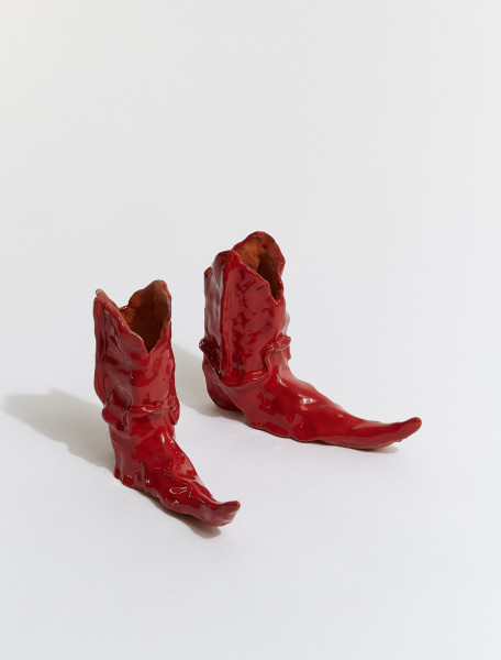 BOOTS-RED HOT LEGS COWBOY BOOT CANDLE HOLDER IN RED