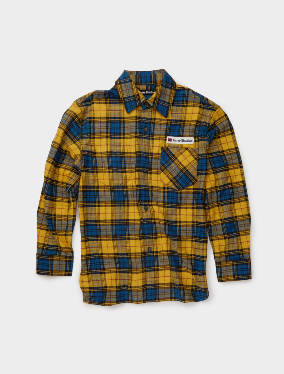 110-CB0023-ANE ACNE STUDIOS LOGO PATCH FLANNEL OVERSHIRT YELLOW