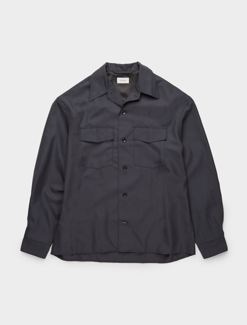 218-X-203-SH153-LF414-966 LEMAIRE CONVERTIBLE COLLAR SHIRT ANTHRACITE