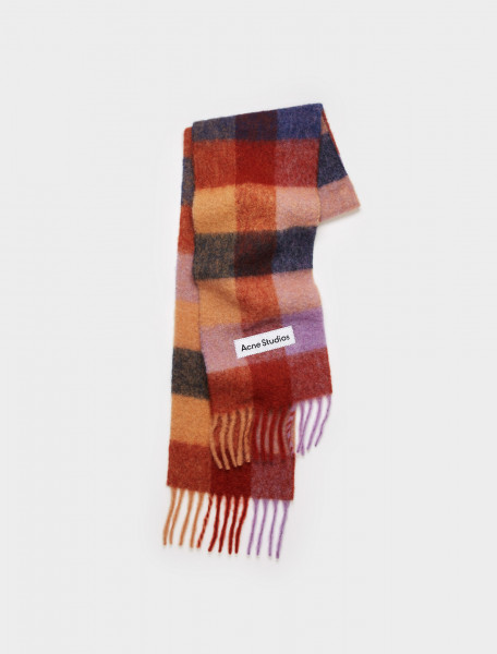 CA0084-CHV ACNE STUDIOS LARGE CHECK SCARF BROWN LILAC NAVY