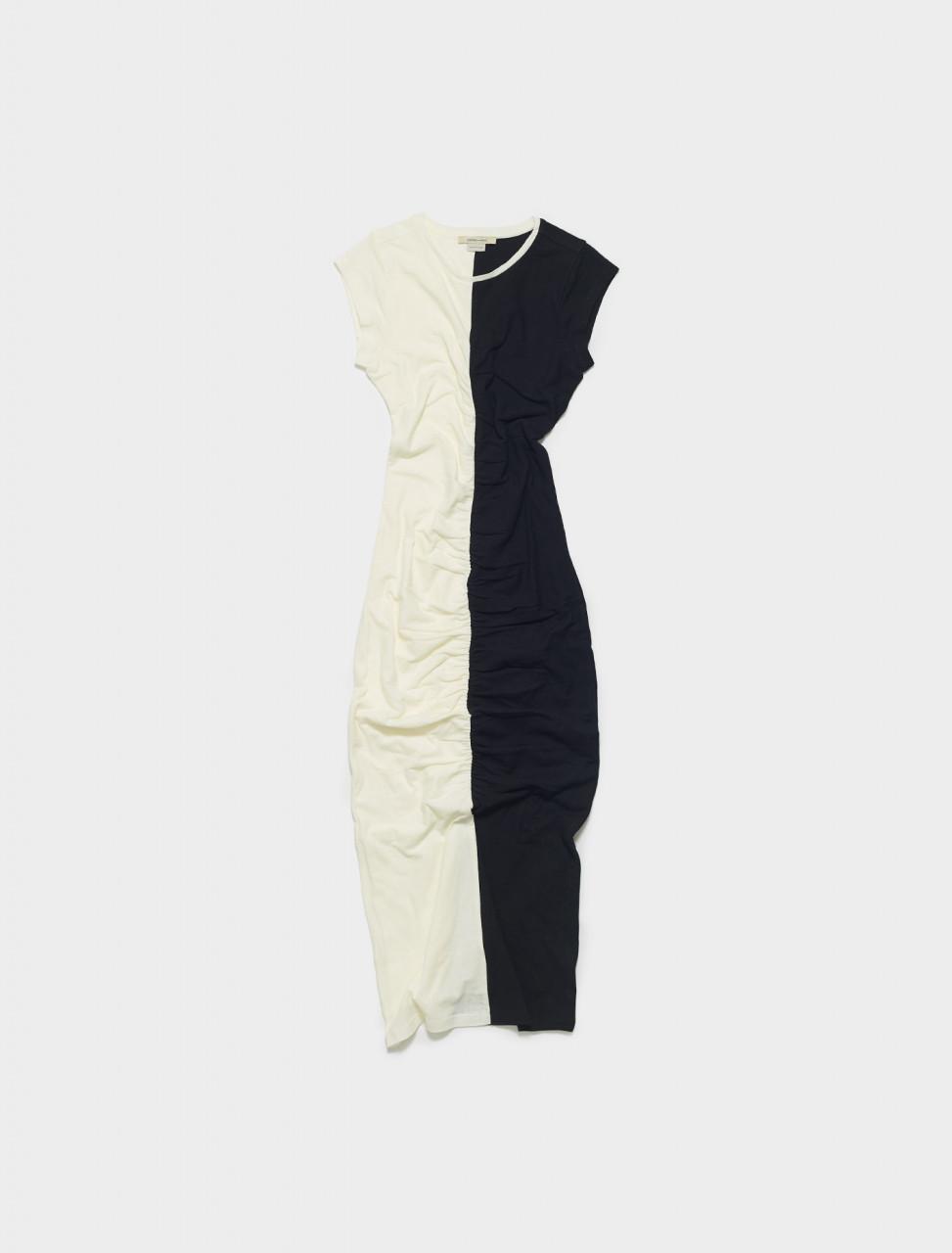 PJM006-999 PALOMA WOOL DOMINO JERSEY DRESS IN BLACK