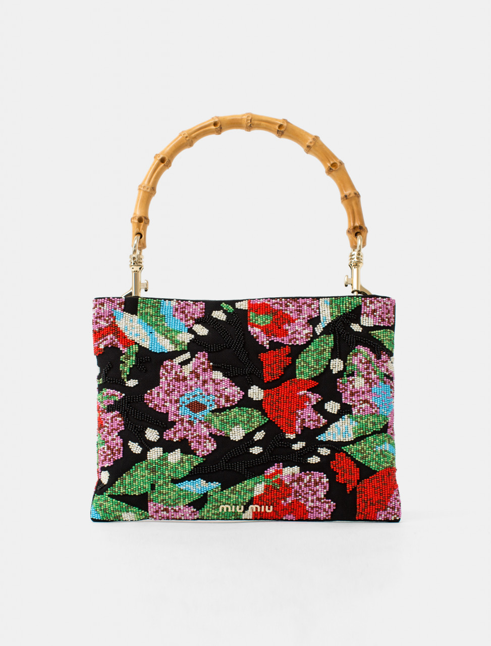 Beaded Floral Handbag with Bamboo Handle