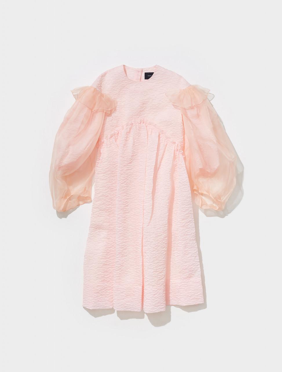 7101_0441 SIMONE ROCHA ORGANZA OVERLAY SIGNATURE SLEEVE SMOCK DRESS IN PINK