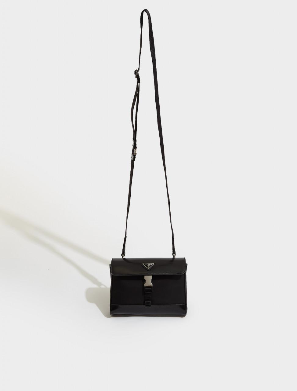 2VD044_789_F0002 PRADA RE NYLON AND LEATHER SHOULDER BAG IN BLACK