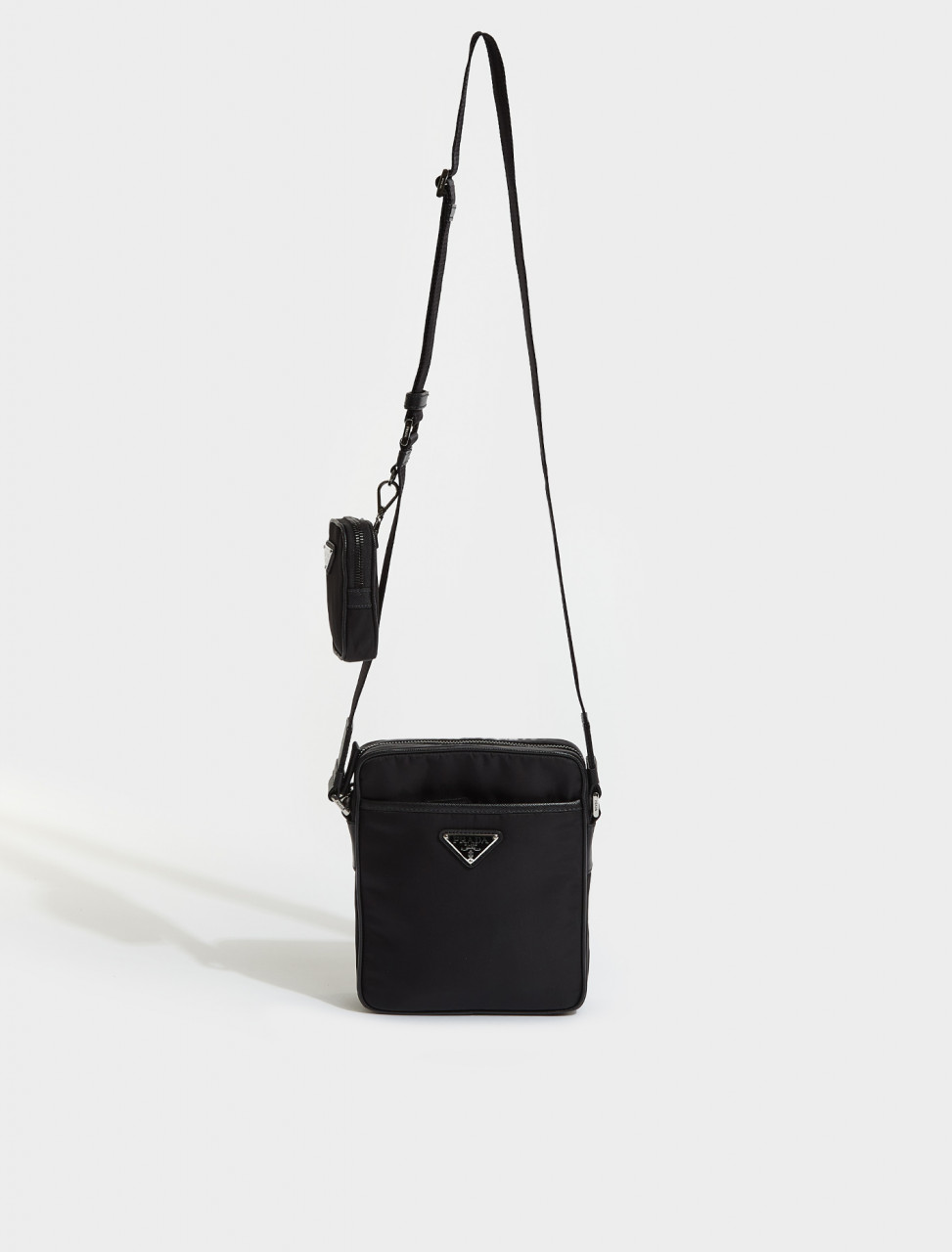 2VH112-F0002 PRADA RE-NYLON SAFFIANO LEATHER SHOULDER BAG BLACK