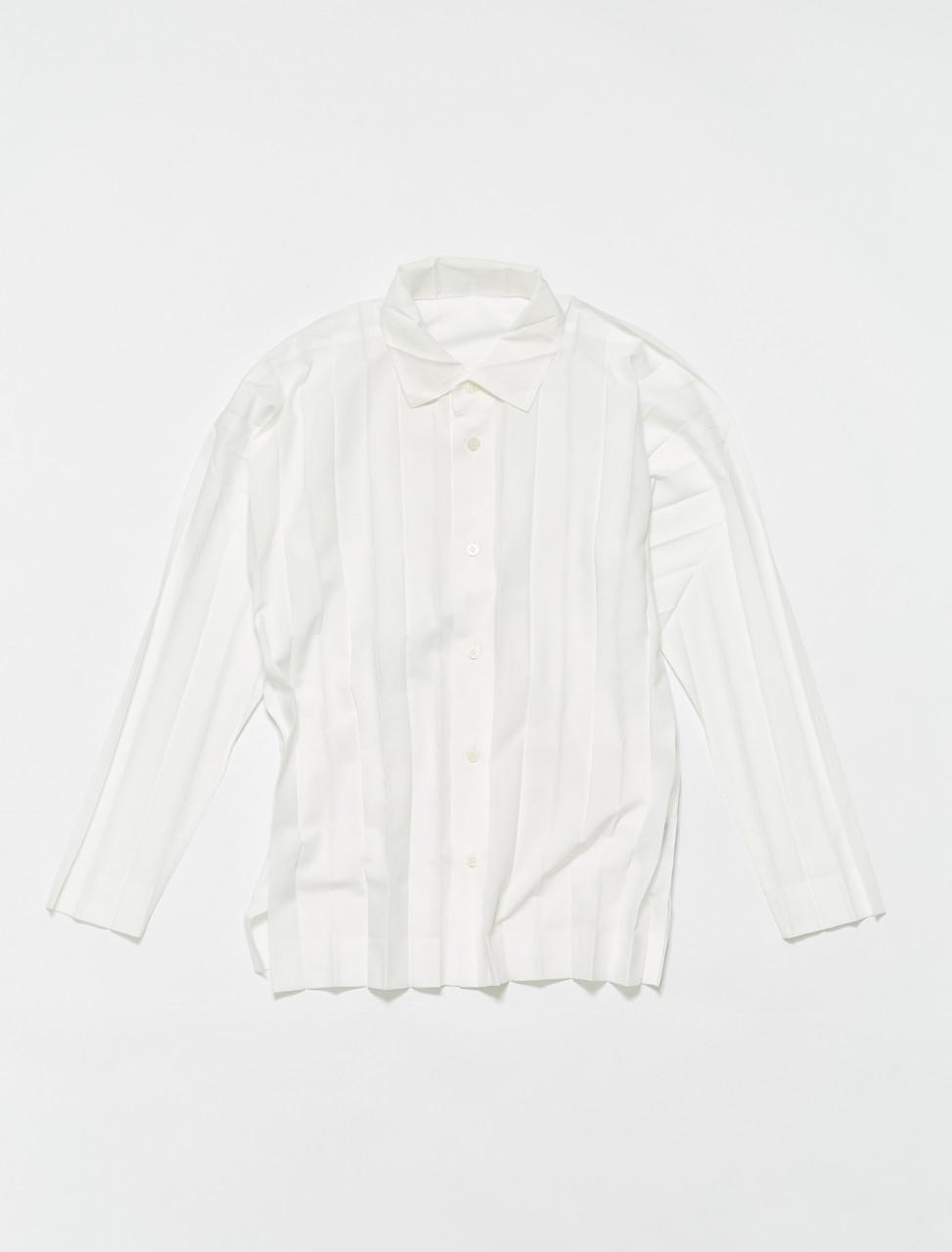 HP17FJ005-01 HOMME PLISSE ISSEY MIYAKE HP17 FL005 PLEATED SHIRT WHITE