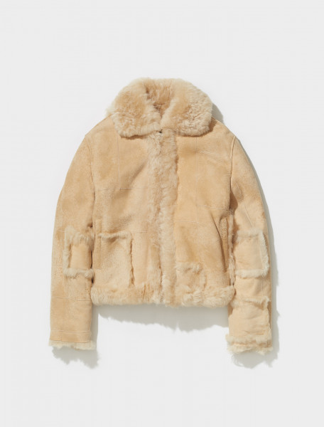 ERL03C006_1 ERL SQUARE PATCH SHEARLING JACKET IN BEIGE