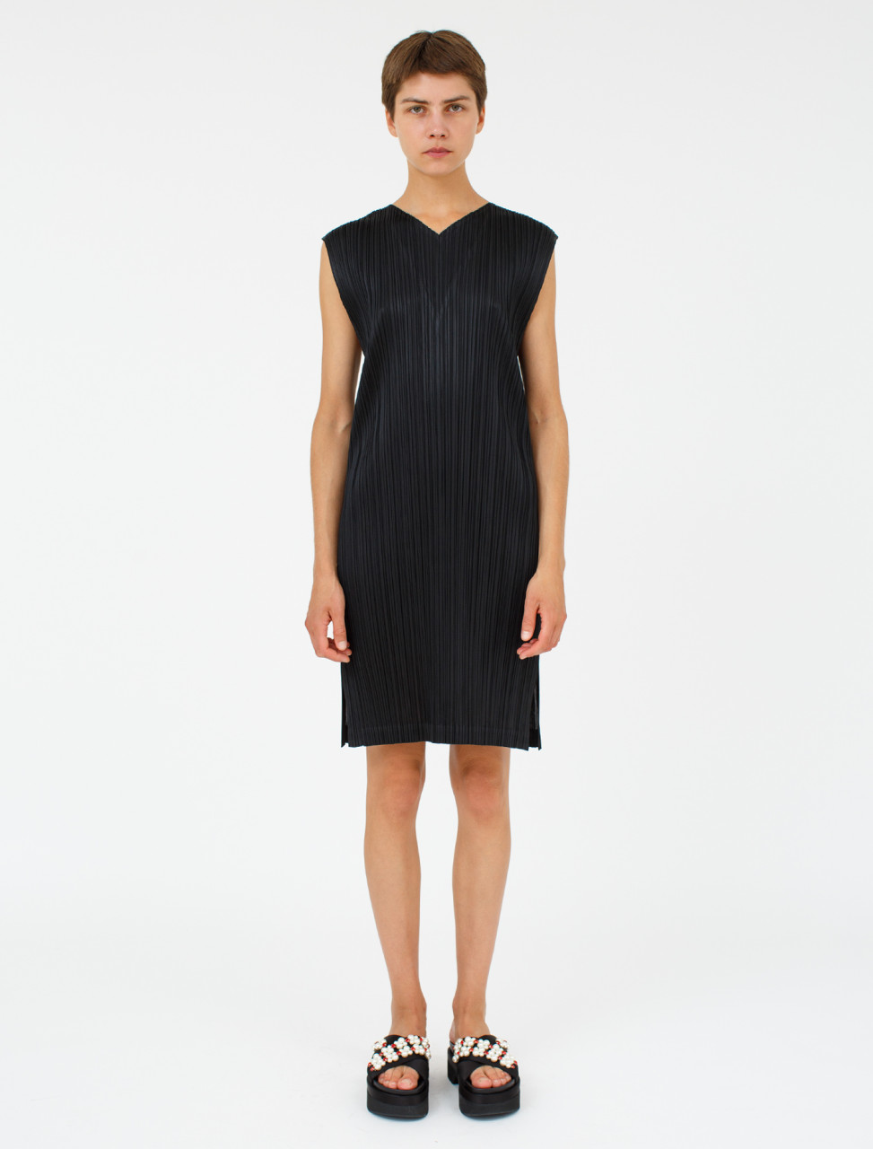 Pleated Dress in Black