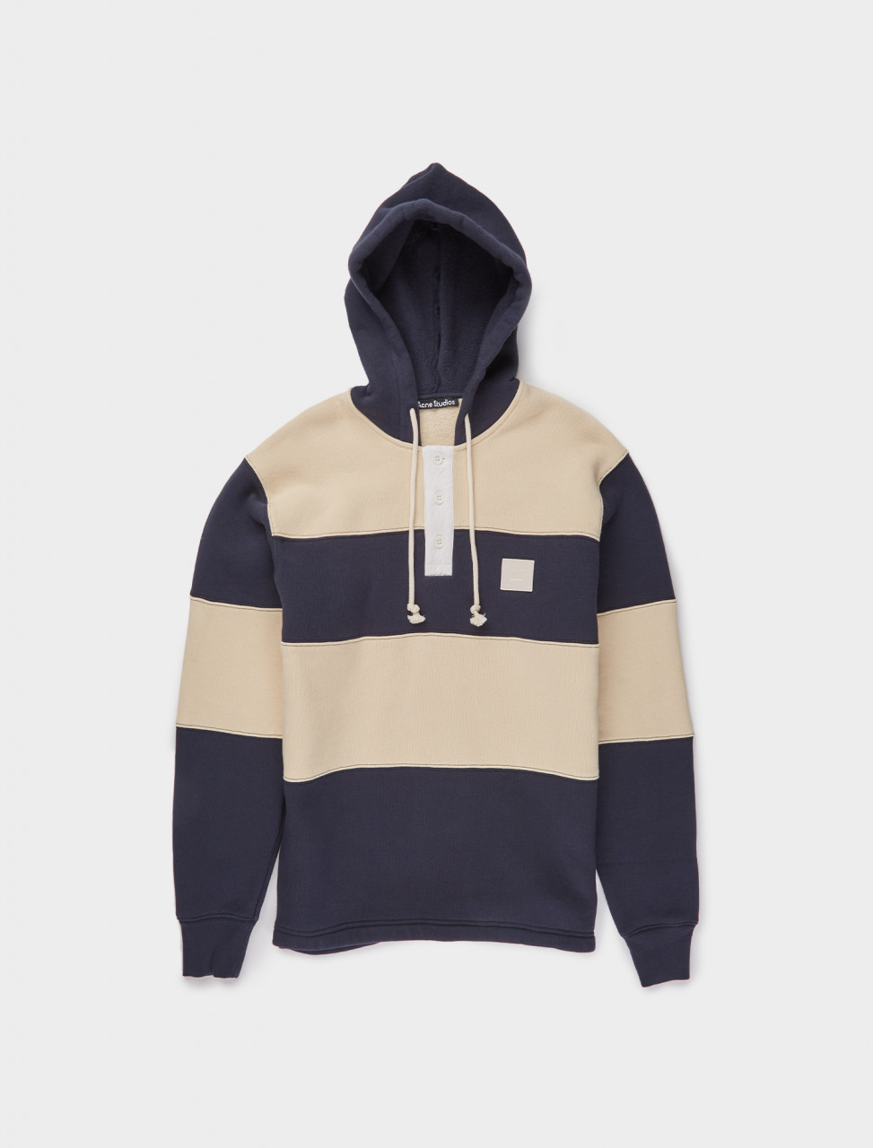 110-CI0044-BG3 ACNE STUDIOS HOODED RUGBY SWEATSHIRT NAVY