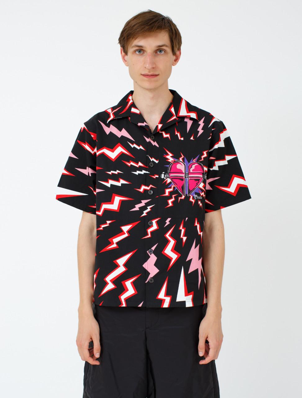 Heart-Patch Thunderbolt Print Shirt