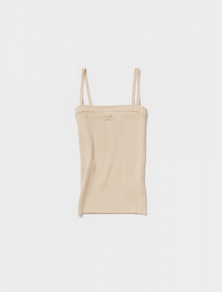 321MDE001FI0001 1007 COURRÈGES STRAPPY TANK TOP IN SABLE